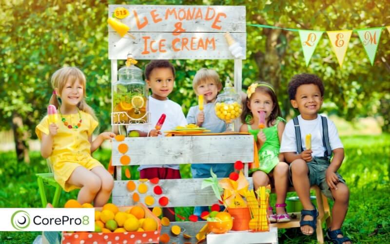 Ice cream and lemonade stand